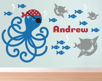 Kids Pirate Octopus Wall Decal: Ocean Nursery Fish Sharks Name