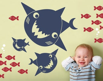 Happy Shark Family Wall Decals: Ocean Sea Life Underwater Nursery Wall Stickers Kids Under-the-Sea Shark Room Decor