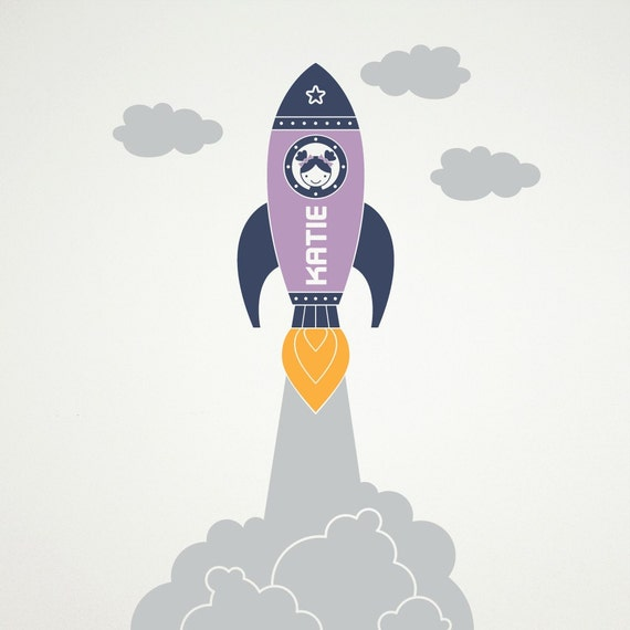 Outer Space Rocket Launch Gril Vinyl Wall Art Decal Sticker