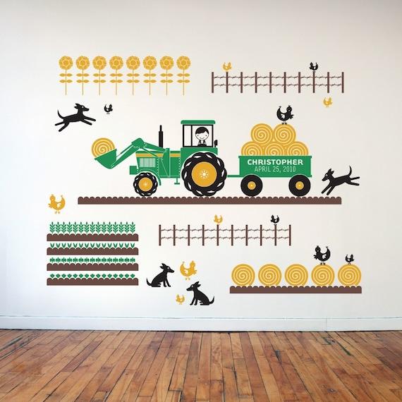 Kids Room Wall Decals Farm Wall Decals Farm Animal Decals: Tractor Boy Farm Plantation Vinyl Wall Art Decal Stickers