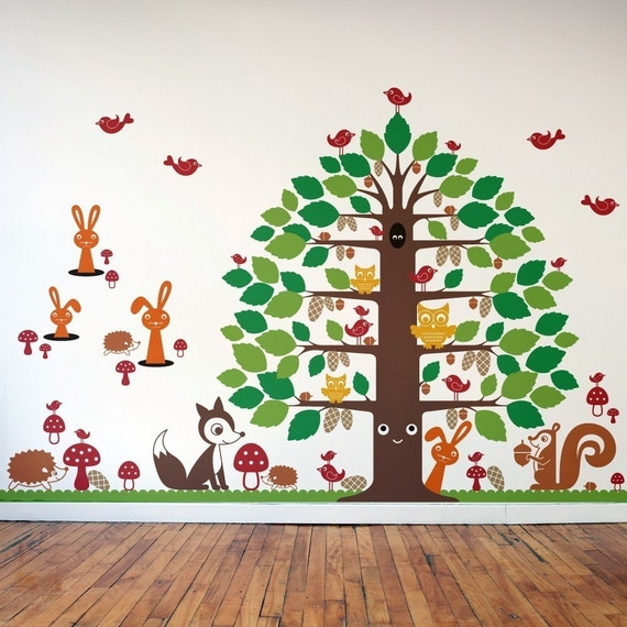 nursery happy tree wall decal woodland animal by graphicspaces. Black Bedroom Furniture Sets. Home Design Ideas