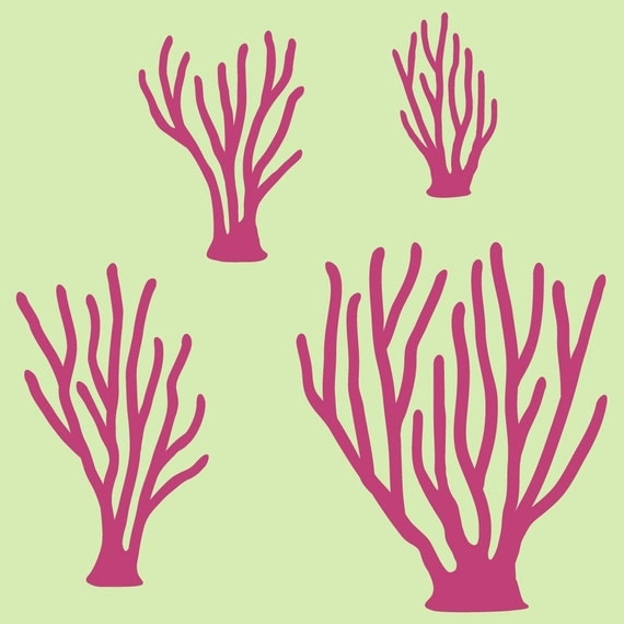Items similar to Sea Coral Vinyl Wall Decals for Fish