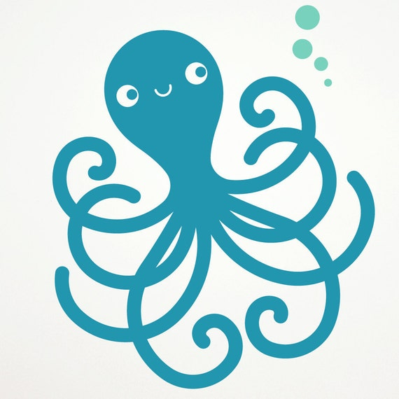 Happy Octopus Wall Decal Ocean Nursery Kids Underwater Room