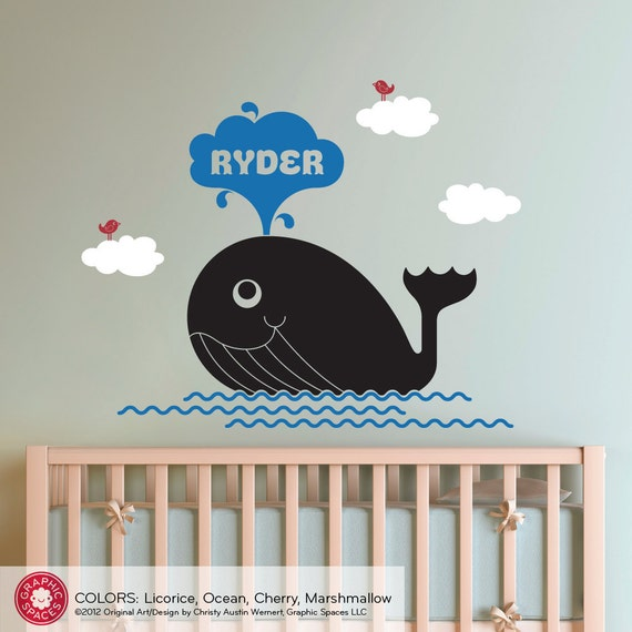 Happy Whale Nursery Wall Decal Baby Personalized Name