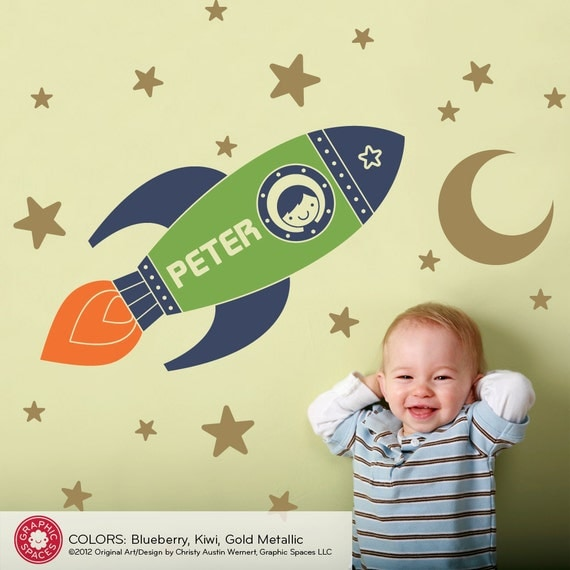 Rocket Boy Wall Decal Outer Space theme Nursery Children's Room