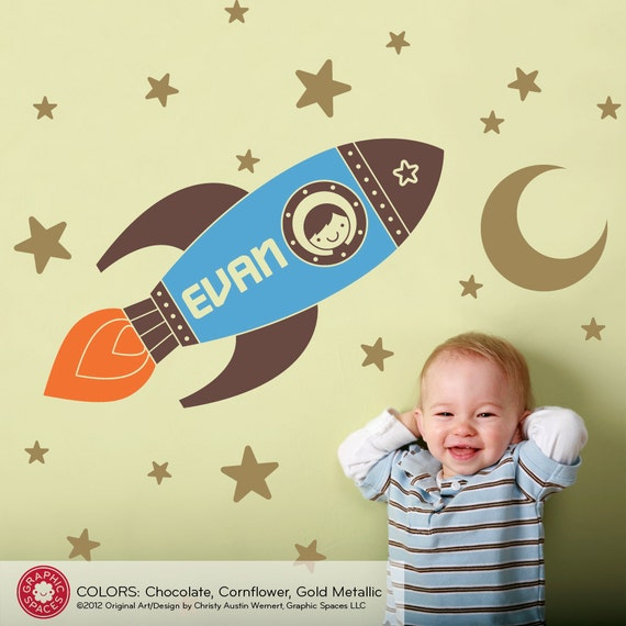 Rocket Wall Decal Boy S Name Outer Space Baby Nursery