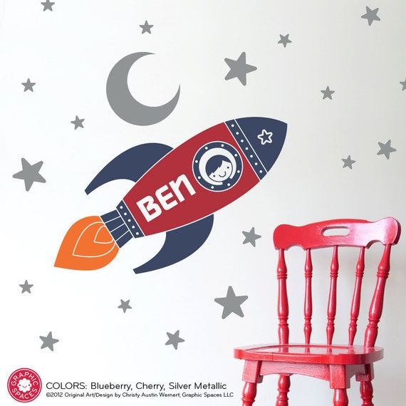 Rocket wall decal boy 39 s name outer space nursery by for Outer space vinyl wall decals