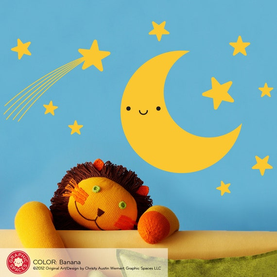 Happy Moon & Stars Wall Decal Sticker Baby Nursery Kids