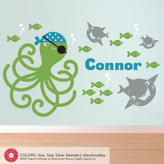 Pirate Octopus Wall Decal: Kids Nautical Pirate Nursery