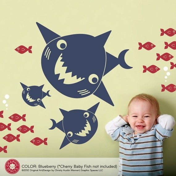 Kids Happy Shark Family Wall Decal Baby Boy Ocean Nursery