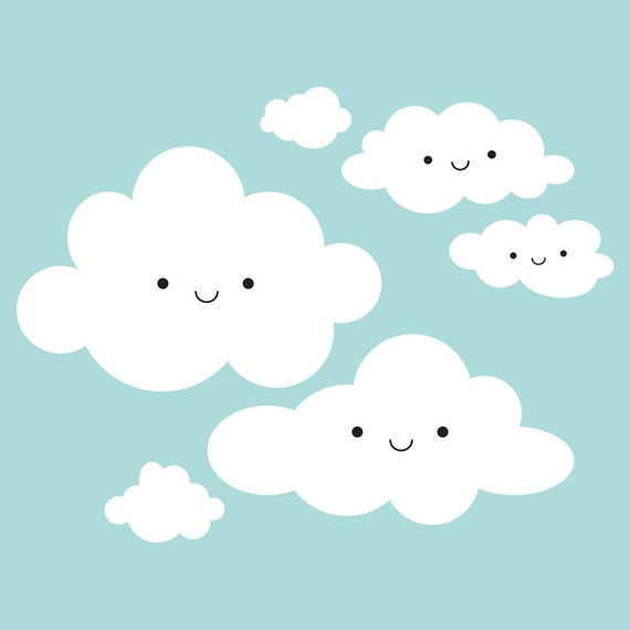 Happy Clouds Wall Decal: Cloud Appliqué for Kids