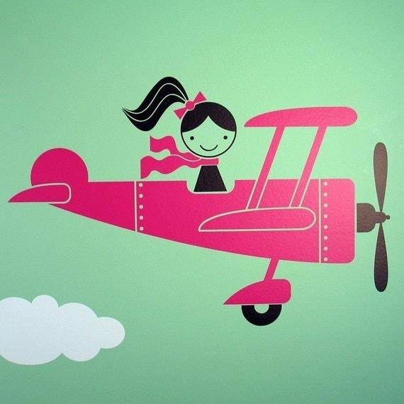 Girl Airplane Pilot Vinyl Wall Decal