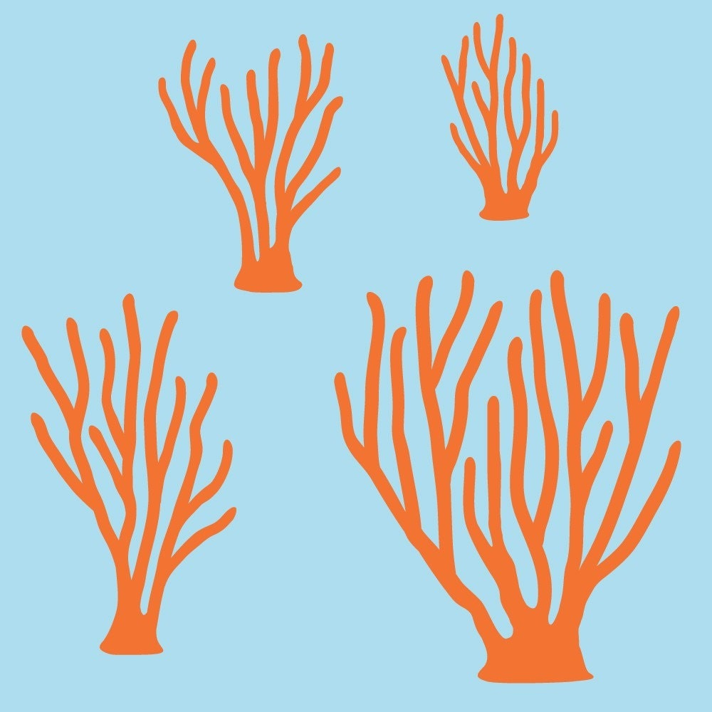 Sea coral wall decals kids baby ocean underwater by graphicspaces