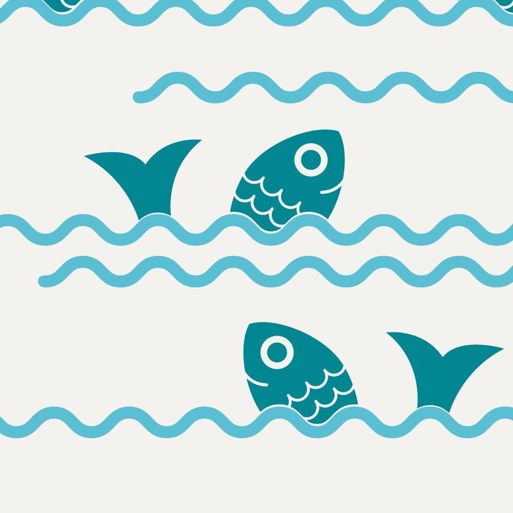 Fish Jumping Ocean Waves Wall Decals Ocean Baby Nursery Decor