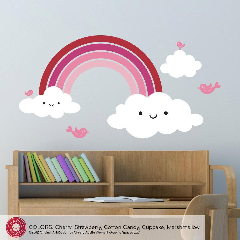 Rainbow Kids Room: Kids Happy Rainbow Wall Decal: Rainbow Room Decor By