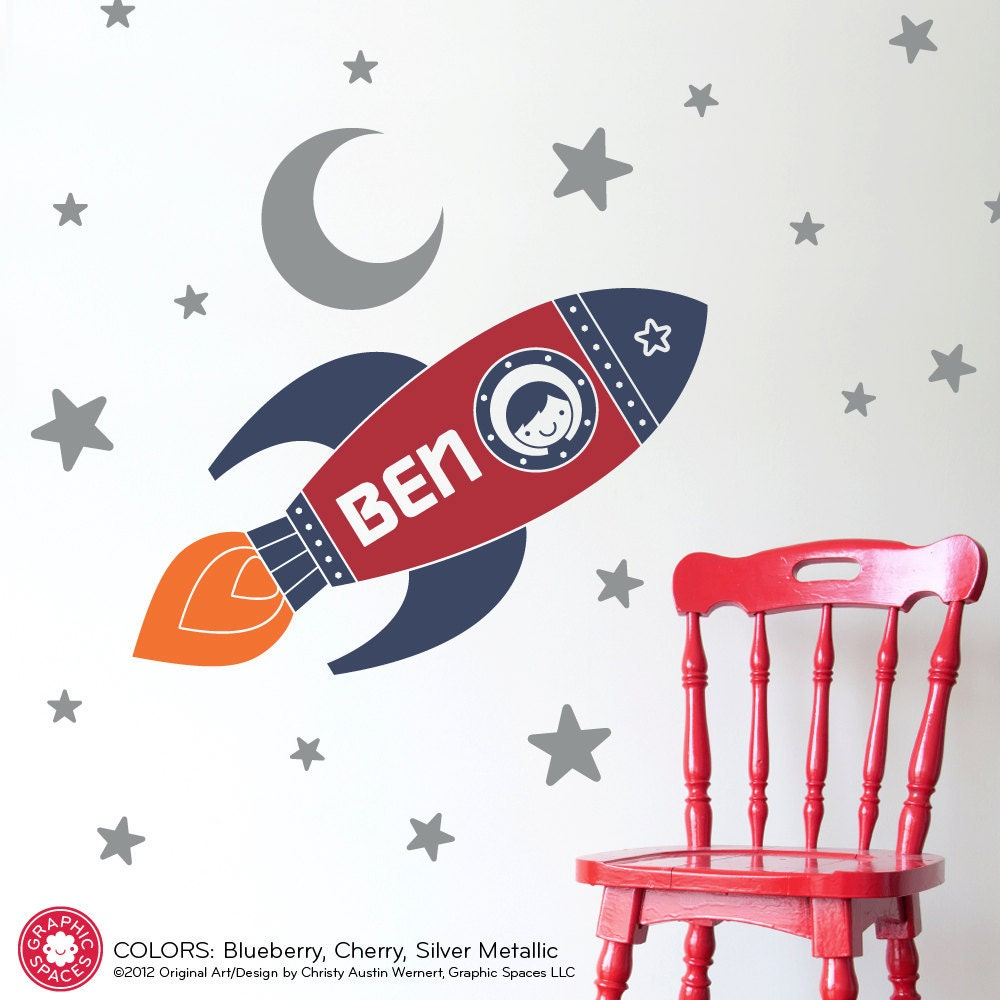 Rocket wall decal boy 39 s name outer space nursery kids room for Outer space decor for nursery
