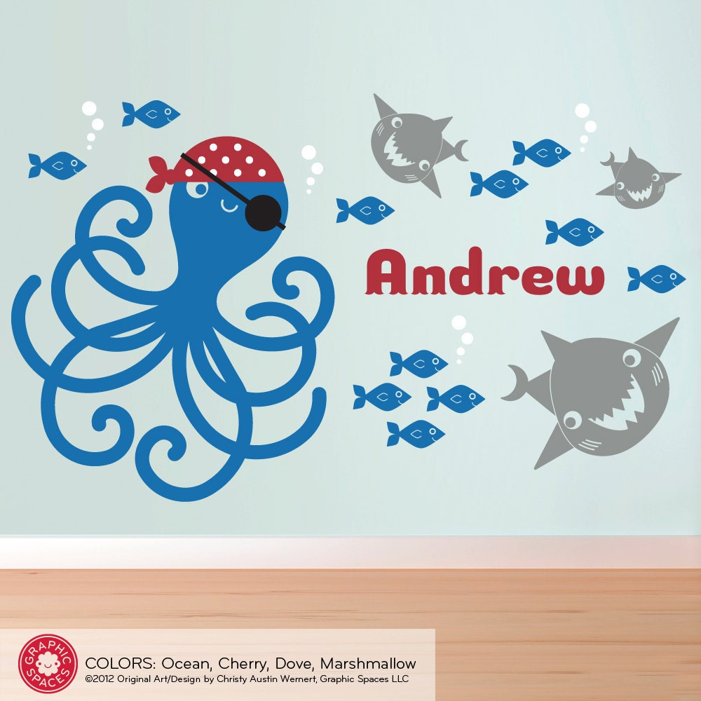 kids pirate octopus wall decal ocean nursery fish sharks name. Black Bedroom Furniture Sets. Home Design Ideas