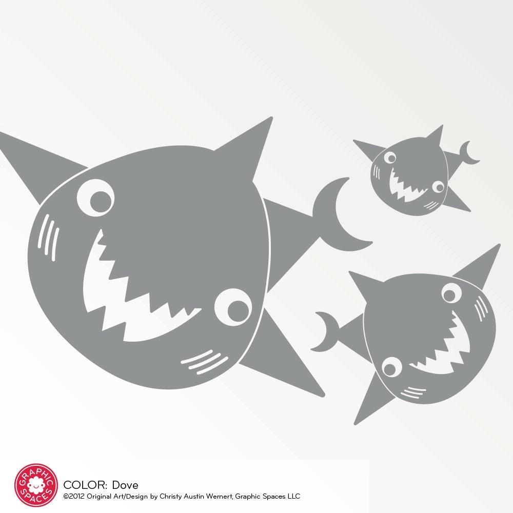 Happy Shark Family Decals Ocean Wall Stickers Kids Nursery