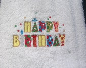 HAPPY BIRTHDAY EMBROIDERED HANDTOWEL