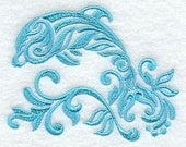 Embroidered Damask Dolphin Towel