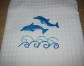 Handtowel With Swimming Dolphins