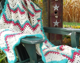 Hand Crocheted Double Strand Ripple Afghan