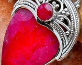 "Royal Ruby Sterling Silver Pendant 1 5/8"""