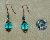 Destin Dazzles Aqua Glass and Swarovski Sand Opal Earrings
