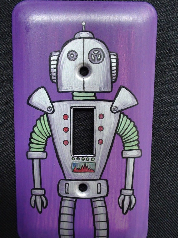 Items Similar To Hand Painted Robot Light Switch Plate