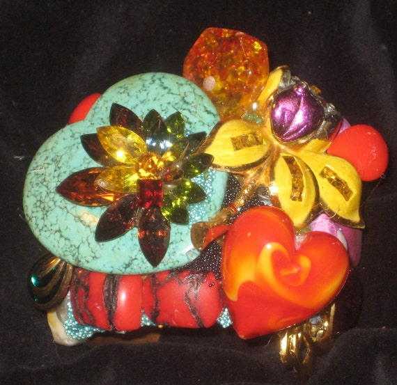 Wendy Gell cuff, Bright colors Red Orange heart with Turquoise heart Wowzie