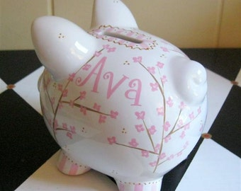 Personalized Piggy Bank Pink Cherry Blossom Size Small