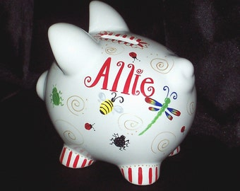Bugs Piggy Bank Piglet Size Girls Or Boys Personalized Piggy Bank Ladybugs Dragonflies