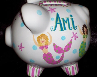 Mermaid Piggy Piglet Size Hand Painted Personalized Girl Bank