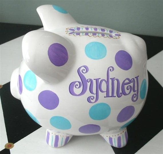 Funky Dots Personalized Piggy Bank Piglet Size