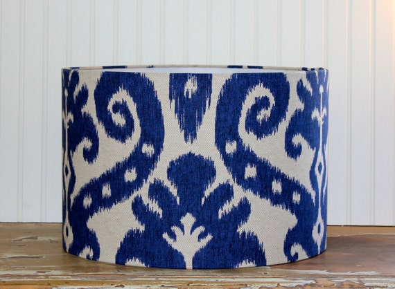 Indigo Blue Ikat Drum Lampshade