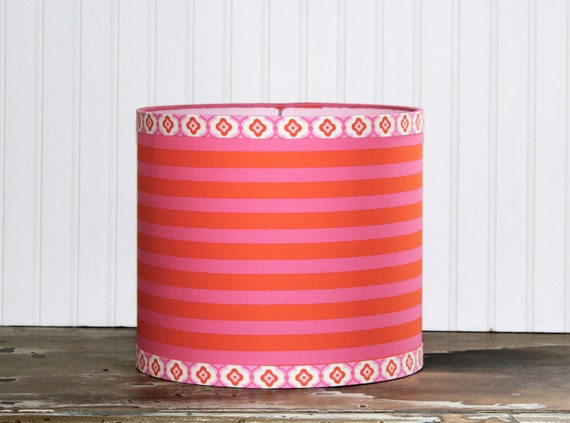 Taza Pink and Orange Drum Lampshade