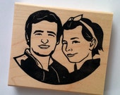 Couple portrait hand carved rubber stamp