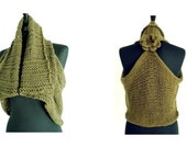 Knitting Pattern Waterfall Waistcoat Poncho Shrug with Crochet Flower Pin