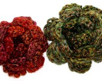 Crochet Pattern for Crochet Flower Brooch Pin Corsage (pdf)