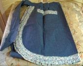 COTTAGE CHARM - Splendid Blue Cotton HALF Apron - Floral Ruffled Trim