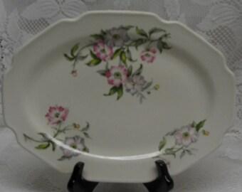 SHABBY COTTAGE CHARM - Vintage Porcelain Rose Blossoms Oval Platter