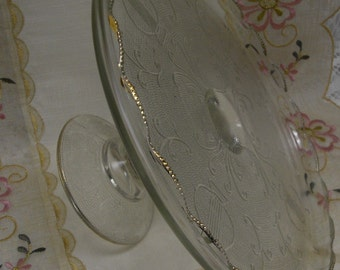 ELEGANCE at its  BEST - GORGEOUS Vintage Ornate Glass Pedestal Cake Plate with Gold Beading - Shabby Cottage Chic - Victorian