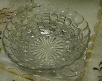 UNUSUAL ORNATE VINTAGE Pressed Glass Bowl with Handles - Serving Bowl - Relish Bowl