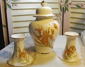 CANDLE HOLDERS and Lidded Urn - Vintage - Porcelain - Very sleek and Chic - Orchids