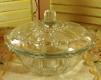 Superbly Ornate Vintage Clear GLASS LIDDED BOWL - Glass Bead Work - So Chic and Elegant