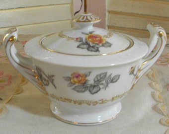 SHABBY COTTAGE CHARM - Vintage Ornate Porcelain Sugar Bowl - Yellow Roes