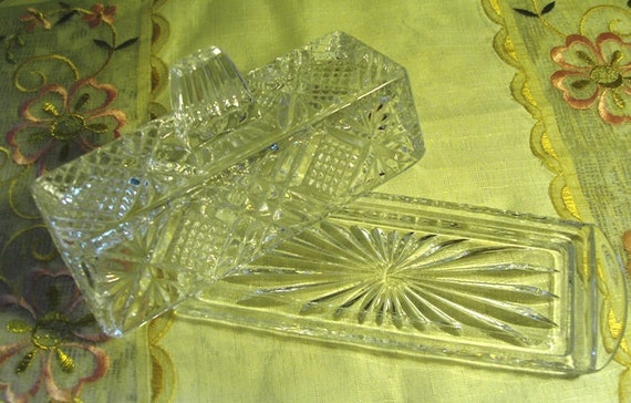 ELEGANT AND CHIC - Vintage Cut Crystal Butter Dish