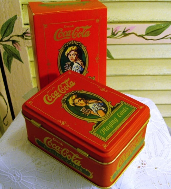 Vintage 1980 Coca Cola Playing Cards in Tin - Super Condition