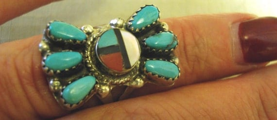 GORGEOUS Vintage ZUNI American Indian Turquoise - Red Coral  and MOP Sterling Silver Ring - Signed