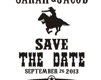 Cowboy Cowgirl Save the Date Stamp